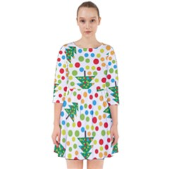Pattern Circle Multi Color Smock Dress