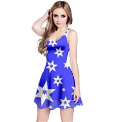 Star Background Pattern Advent Reversible Sleeveless Dress by Celenk