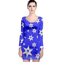 Star Background Pattern Advent Long Sleeve Bodycon Dress by Celenk