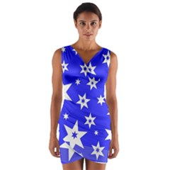 Star Background Pattern Advent Wrap Front Bodycon Dress by Celenk