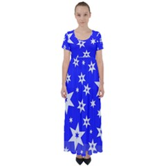 Star Background Pattern Advent High Waist Short Sleeve Maxi Dress by Celenk