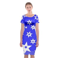 Star Background Pattern Advent Classic Short Sleeve Midi Dress by Celenk