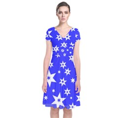 Star Background Pattern Advent Short Sleeve Front Wrap Dress by Celenk
