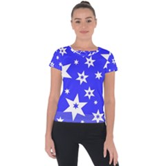 Star Background Pattern Advent Short Sleeve Sports Top  by Celenk