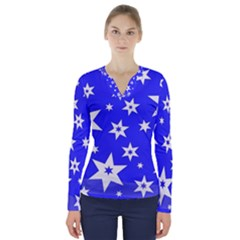 Star Background Pattern Advent V Neck Long Sleeve Top by Celenk
