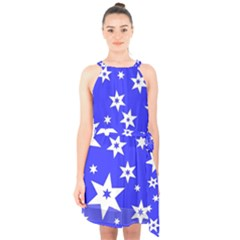 Star Background Pattern Advent Halter Collar Waist Tie Chiffon Dress by Celenk