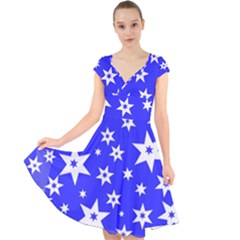 Star Background Pattern Advent Cap Sleeve Front Wrap Midi Dress by Celenk