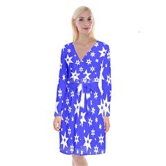 Star Background Pattern Advent Long Sleeve Velvet Front Wrap Dress by Celenk
