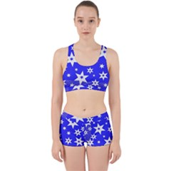 Star Background Pattern Advent Work It Out Sports Bra Set by Celenk