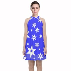 Star Background Pattern Advent Velvet Halter Neckline Dress  by Celenk