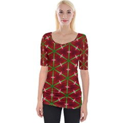 Textured Background Christmas Pattern Wide Neckline Tee by Celenk