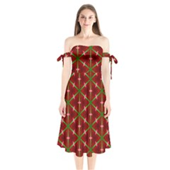 Textured Background Christmas Pattern Shoulder Tie Bardot Midi Dress
