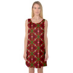 Textured Background Christmas Pattern Sleeveless Satin Nightdress by Celenk