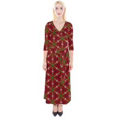 Textured Background Christmas Pattern Quarter Sleeve Wrap Maxi Dress by Celenk