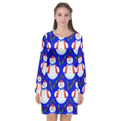 Seamless Repeat Repeating Pattern Long Sleeve Chiffon Shift Dress