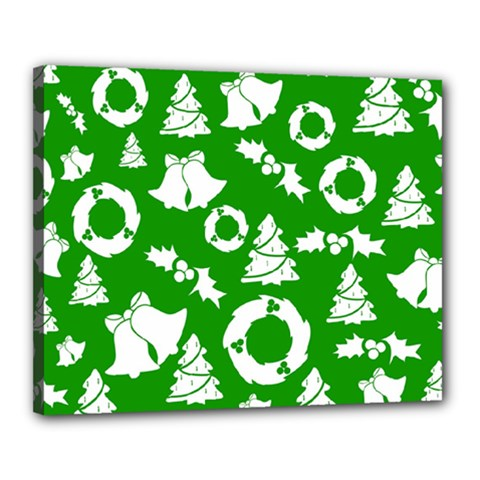 Green White Backdrop Background Card Christmas Canvas 20  X 16  by Celenk