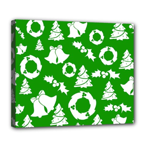 Green White Backdrop Background Card Christmas Deluxe Canvas 24  X 20   by Celenk
