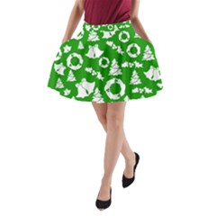 Green White Backdrop Background Card Christmas A-line Pocket Skirt
