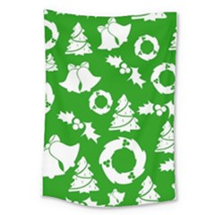 Green White Backdrop Background Card Christmas Large Tapestry by Celenk