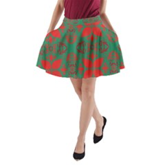 Christmas Background A Line Pocket Skirt by Celenk