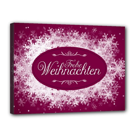 Christmas Card Red Snowflakes Canvas 16  X 12  by Celenk