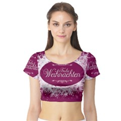 Christmas Card Red Snowflakes Short Sleeve Crop Top