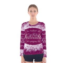 Christmas Card Red Snowflakes Women s Long Sleeve Tee by Celenk