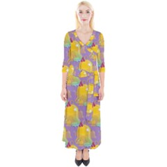 Seamless Repeat Repeating Pattern Quarter Sleeve Wrap Maxi Dress by Celenk