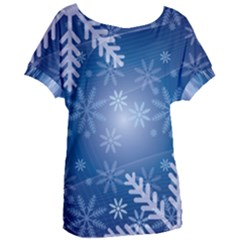 Snowflakes Background Blue Snowy Women s Oversized Tee by Celenk