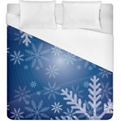 Snowflakes Background Blue Snowy Duvet Cover (king Size) by Celenk