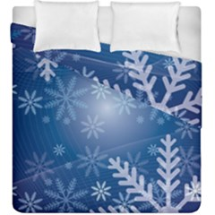 Snowflakes Background Blue Snowy Duvet Cover Double Side (king Size) by Celenk