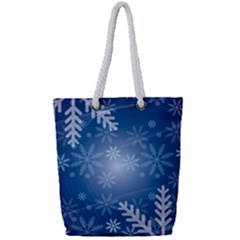 Snowflakes Background Blue Snowy Full Print Rope Handle Bag (small) by Celenk