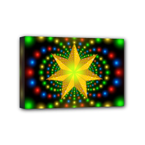 Christmas Star Fractal Symmetry Mini Canvas 6  X 4  by Celenk