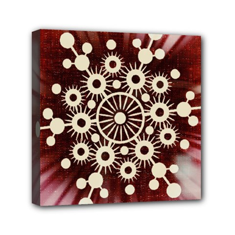 Background Star Red Abstract Mini Canvas 6  X 6  by Celenk