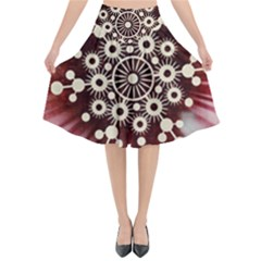 Background Star Red Abstract Flared Midi Skirt