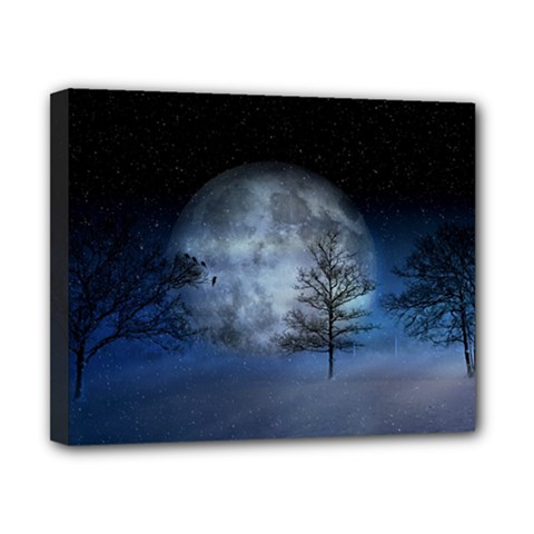 Winter Wintry Moon Christmas Snow Canvas 10  X 8  by Celenk