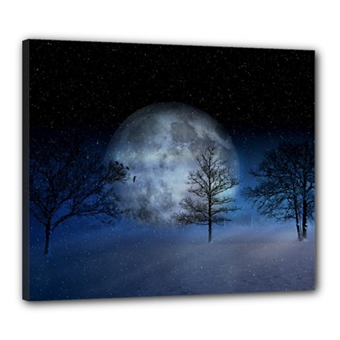 Winter Wintry Moon Christmas Snow Canvas 24  X 20  by Celenk