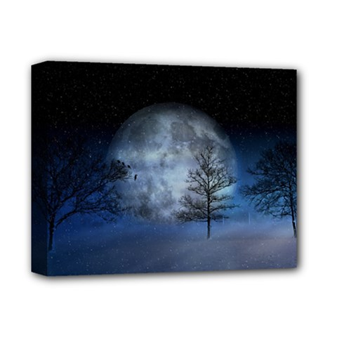 Winter Wintry Moon Christmas Snow Deluxe Canvas 14  X 11  by Celenk