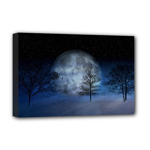 Winter Wintry Moon Christmas Snow Deluxe Canvas 18  X 12   by Celenk