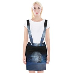 Winter Wintry Moon Christmas Snow Braces Suspender Skirt