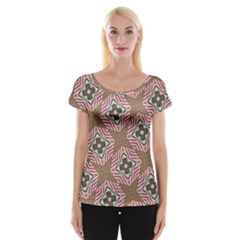 Pattern Texture Moroccan Print Cap Sleeve Tops