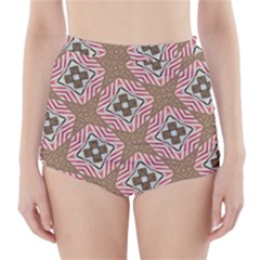 Pattern Texture Moroccan Print High Waisted Bikini Bottoms by Celenk