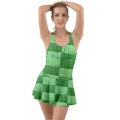 Wool Ribbed Texture Green Shades Swimsuit by Celenk
