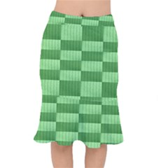 Wool Ribbed Texture Green Shades Mermaid Skirt