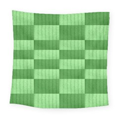 Wool Ribbed Texture Green Shades Square Tapestry (large) by Celenk