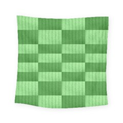 Wool Ribbed Texture Green Shades Square Tapestry (small) by Celenk