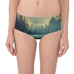 Yosemite Park Landscape Sunrise Mid Waist Bikini Bottoms by Celenk