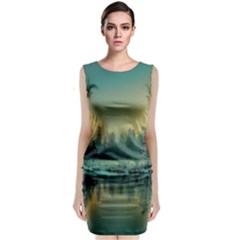 Yosemite Park Landscape Sunrise Sleeveless Velvet Midi Dress