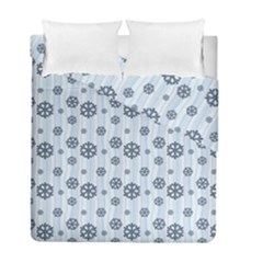 Snowflakes Winter Christmas Card Duvet Cover Double Side (full/ Double Size) by Celenk