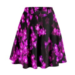 Abstract Background Purple Bright High Waist Skirt